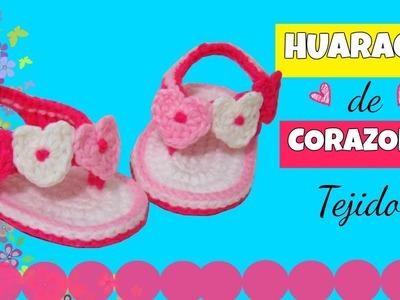 Huarache o sandalia de corazones ♥ tejidos a crochet |  varias tallas