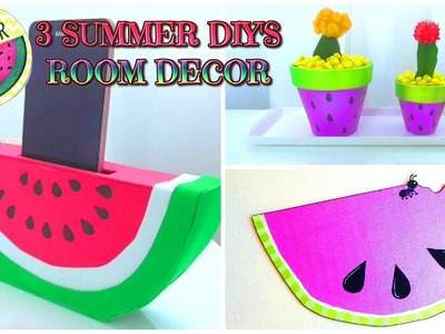 3 DIY SUMMER room decor IDEAS para decorar tu cuarto con Sandias - Isa ❤️