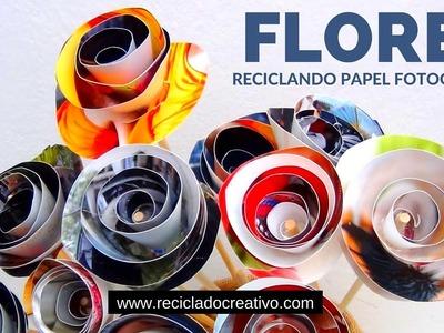 Flores con papel de fotografías reciclado - How to make roses out of photo paper