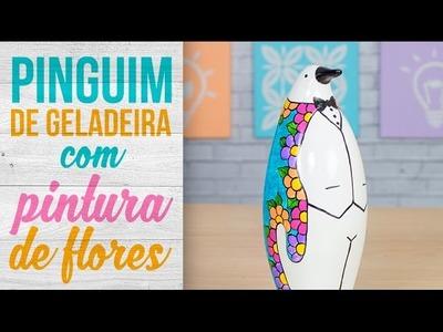 Pinguim de Geladeira com Pintura de Flores