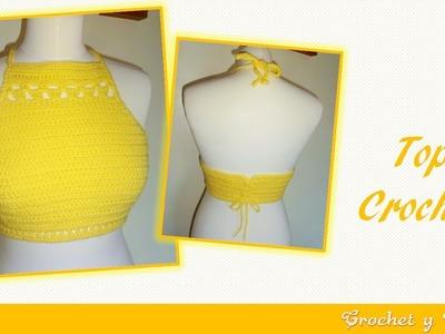 Top crop halter tejido a crochet ganchillo – Parte 1