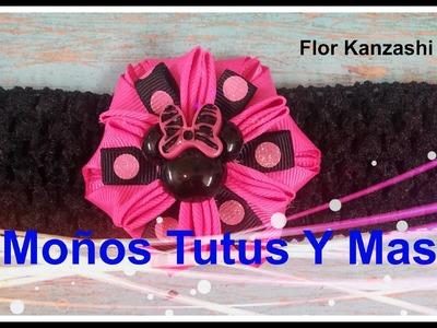 FACIL FLOR KANZASHI Paso a Paso EASY KANZASHI FLOWER Tutorial DIY How To PAP