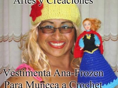 VESTIMENTA DE ANA-FROZEN PARA MUÑECA A CROCHET - 1ERA. PARTE