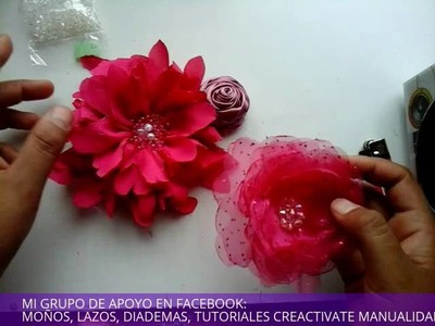 Como hacer flores de tela para una tiara, o valerina, How to make flowers for a tiara, vincha