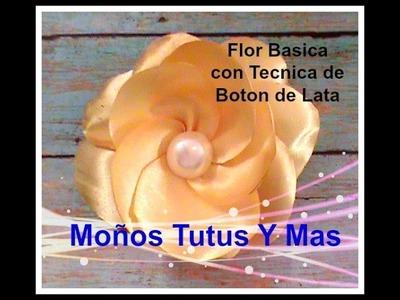 FLOR CON TECNICA DEL BOTON DE LATA Paso a Paso HOW TO MAKE FLOWERS WITH BUTTON Tutorial