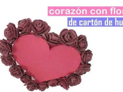 DIY Decora tu cuarto - Corazón con flores de cartón de huevo.