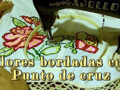 Flores bordadas con punto de cruz |Creaciones y manualidades angeles
