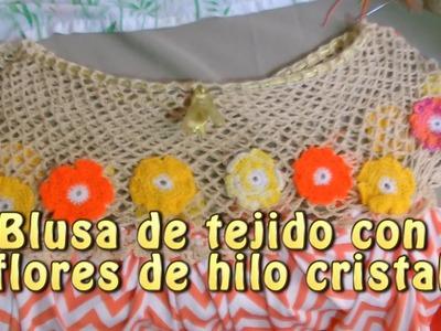 Blusa de tejido con flores de hilo cristal |Creaciones y manualidades angeles