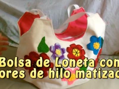 Bolsa de loneta con flores de hilo cristal matizado |Creaciones y manualidades angeles