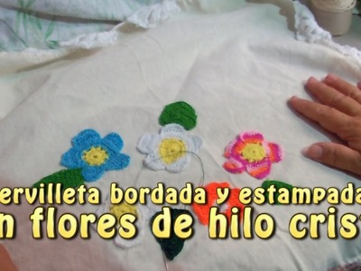 Servilleta bordada y estampada con flores de hilo cristal |Creaciones y manualidades angeles