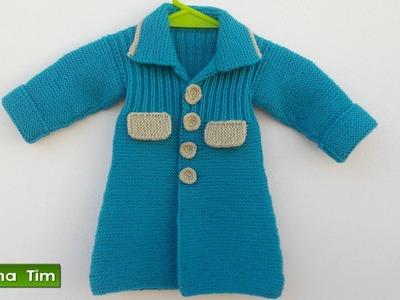 Abrigo (tapado) para niña bebé. Tejido con dos agujas # 445