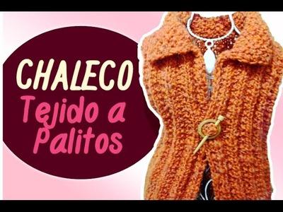 CHALECO TEJIDO A PALITOS en punto falso ingles y punto arroz. Vest tissue Sticks | Canela♥