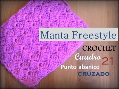 Manta a crochet Freestyle cuadro 21: punto abanico cruzado (zurdo)