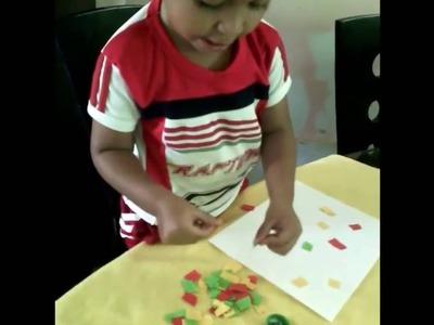 Haciendo manualidades mi hijo