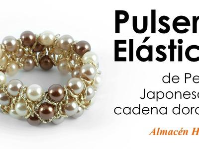Tutorial - Pulsera Elastica de Perlas y Cadena