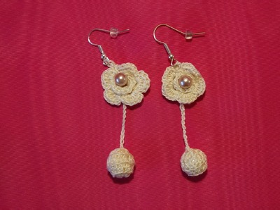 Como hacer pendientes o aretes tejidos a crochet paso a paso.  how to make chochet earings