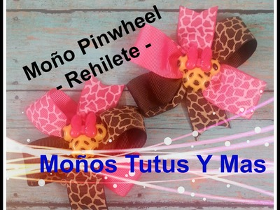 Paso a Paso Moño Rehilete TWO COLOR PINWHEEL HAIR BOW Tutorial DIY Como Hacer PAP