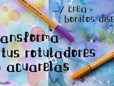 DIY: ACUARELAS caseras con ROTULADORES + ideas de PAPEL DECORATIVO (Manualidades fáciles con papel)