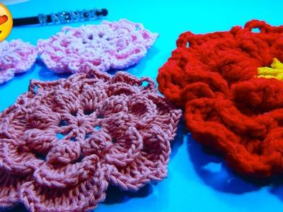 Flor doble capa 8 petalos Ganchillo Double Layer crochet Flower DIY
