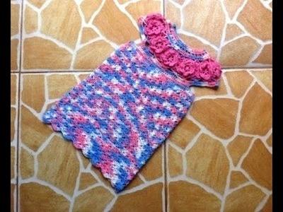 Vestido nina con canesu flores tejido a crochet parte 3.3