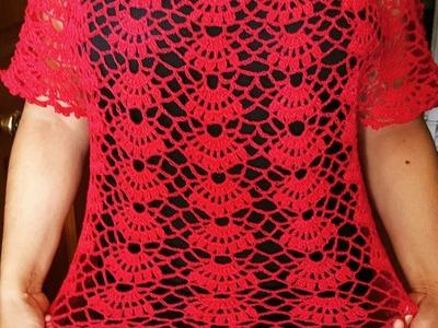 Blusa en crochet (ganchillo) de abanicos parte 2