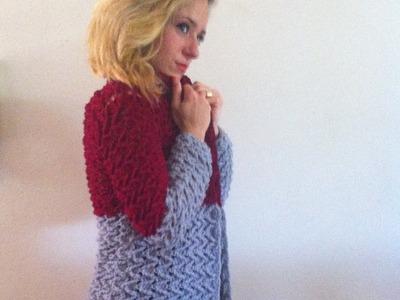 Crochet: Abrigo cardigan chaqueta mujer tejido a crochet parte 1.3