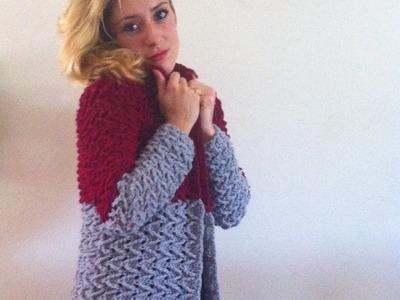 Crochet: Abrigo cardigan chaqueta mujer tejido a crochet parte 3.3