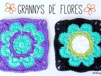 GRANNY SQUARE de FLOR a crochet | tutorial paso a paso · Ahuyama Crochet