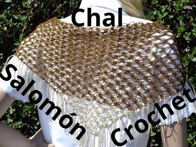 Como tejer un Chal con el Punto Salomon Triangular en tejido crochet o ganchillo