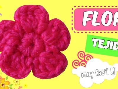 Flor tejida a Crochet MUY FACIL