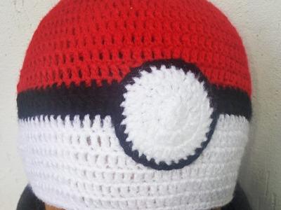 Gorro pokeball a crochet