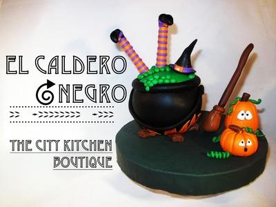 Como hacer el Caldero Negro | How to make the Black Cauldron | Fondant Cake Topper | Halloween