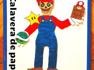 DIY Decora calavera de papel Mario Bros Día de Muertos paper skeleton Halloween