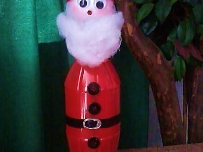 Papá Noel con una botella de plástico. DIY. Santa Claus made of plastic bottle