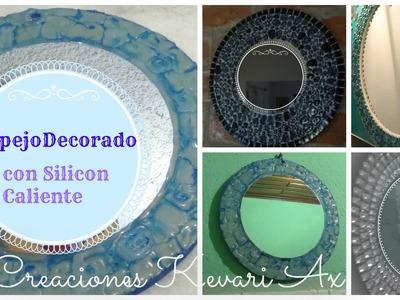 Espejo Decorado con Silicon Caliente.DIY Hot Glue Decorative Framed Mirror