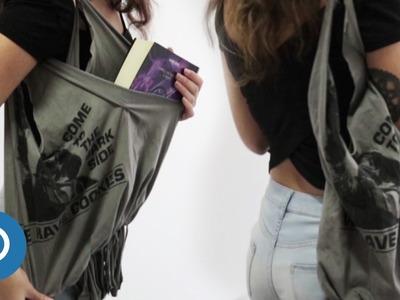 BOLSO CON CAMISETA  DIY - Bolsos de tela PASO A PASO