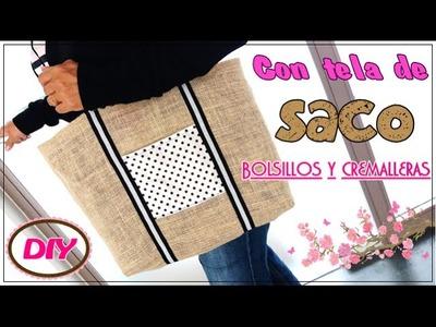 Bolso de tela de saco o arpillera   DIY