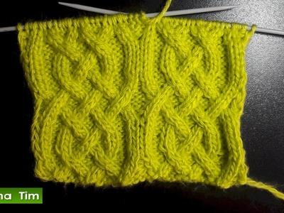 Cómo tejer Punto (puntada) ARAN. Tejido con dos agujas # 468