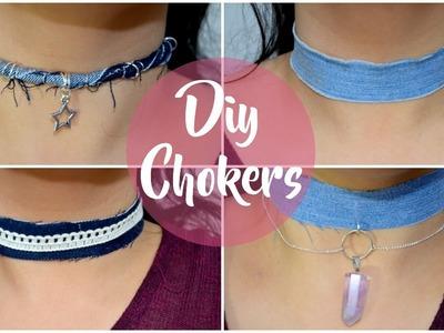 DIY - Como hacer Chokers! ♥ Haz Chokers fáciles reciclando Jeans!