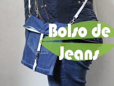 DIY como hacer un bolso facilisimo con unos jeans.reciclar jeans tela