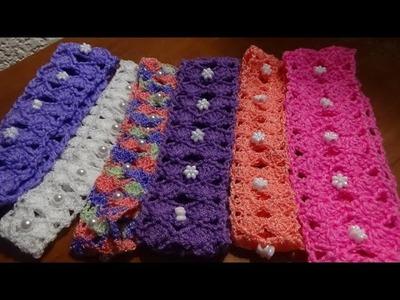 Còmo hacer una diadema o banda para el pelo, puntada a crochet. Muestra No. 25