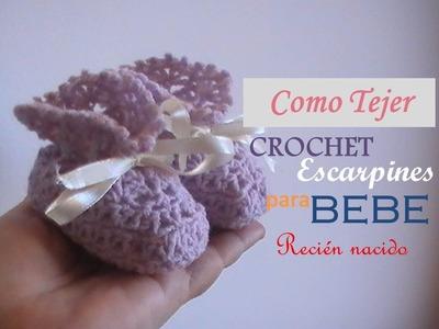 Como tejer a crochet escarpines para recién nacidos (zurdo)
