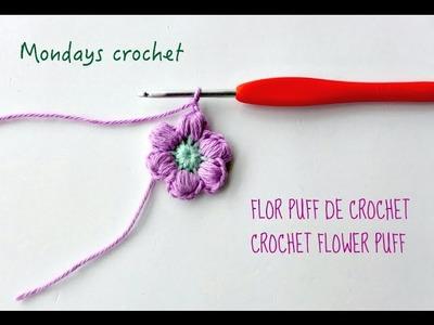 Flor puff de crochet. Crochet flower puff