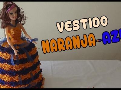 Vestido Naranja-Azul a crochet para Muñeca