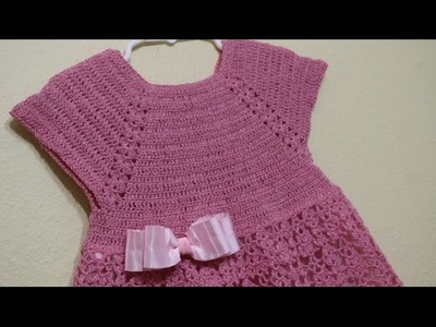 Vestido Rosa Elegante Crochet parte 1 de 3