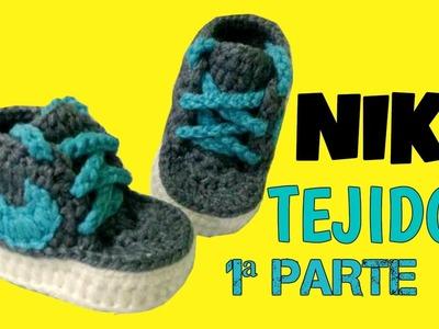 Zapatitos Nike tejidos a Crochet talla 3-6 meses  | parte 1.2