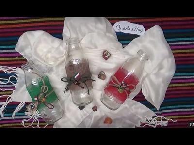 Botellas Decoradas. DIY  Fiestas Patrias.