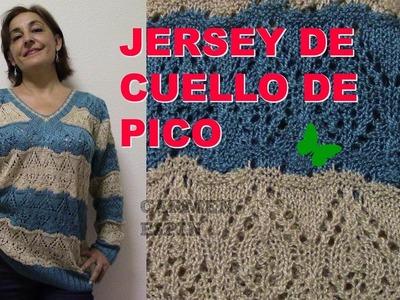 JERSEY CON ESCOTE DE PICO EN DOS AGUJAS:DIY