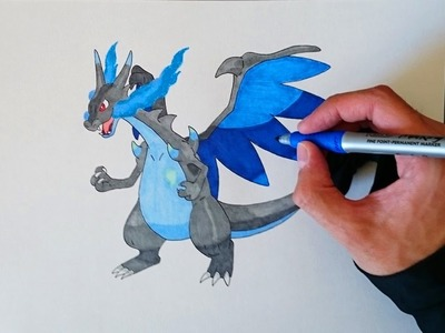 Como dibujar a Mega Charizard X paso a paso - How to draw Mega Charizard X step by step