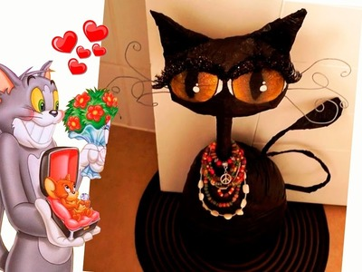 Haz un hermoso gato decorativo con Botella. RECICLAJE. Halloween - Gato negro. DIY.